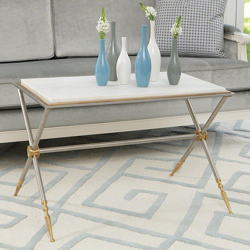 "Campaign 30"" Coffee Table - White Marble Top - Grats Decor Interior Design & Build Inc."