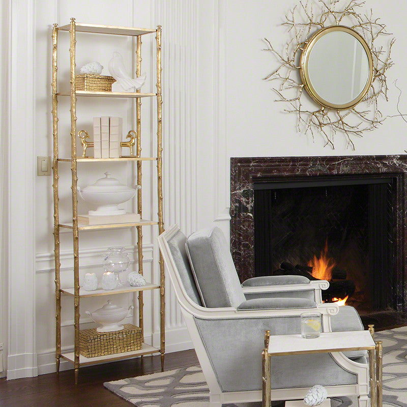 "Arbor 20""W x 81""H Etagere - Brass & White Marble - Grats Decor Interior Design & Build Inc."