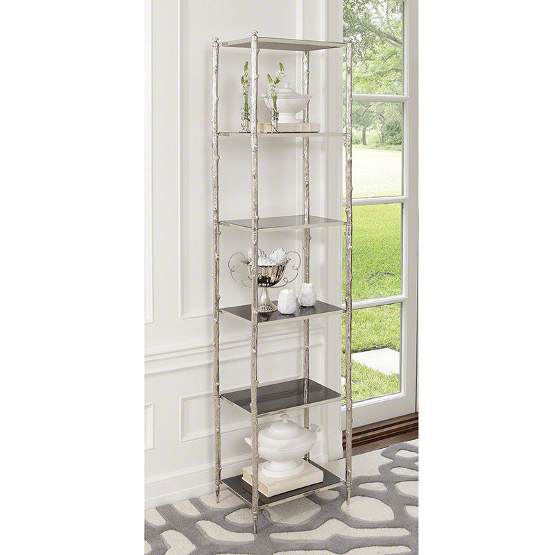 "Arbor 20""W x 80""H Etagere - Nickel & Black Granite - Grats Decor Interior Design & Build Inc."