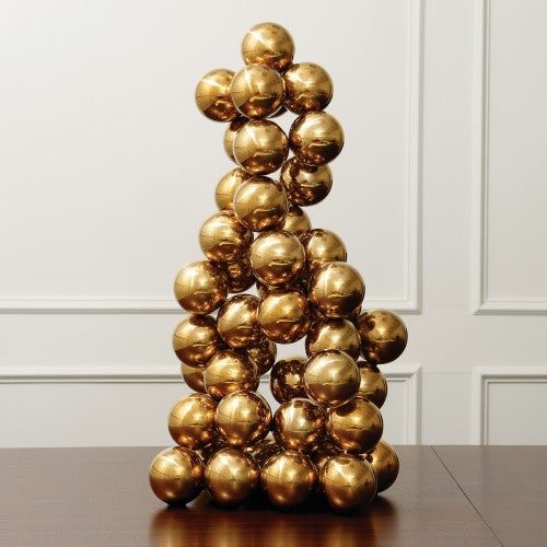 "Sphere 24""H Sculpture - Brass"