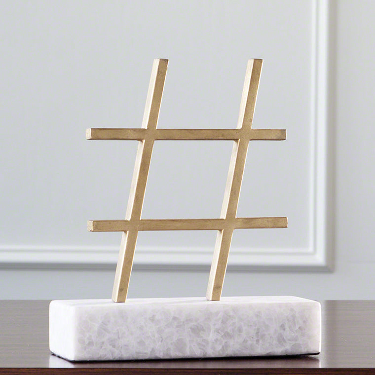 # Hashtag Sculpture - Gold Leaf - Grats Decor Interior Design & Build Inc.