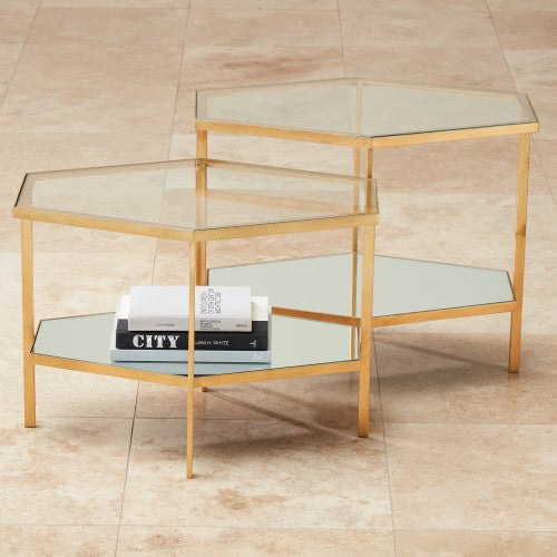 Hexagon Table - Gold Leaf