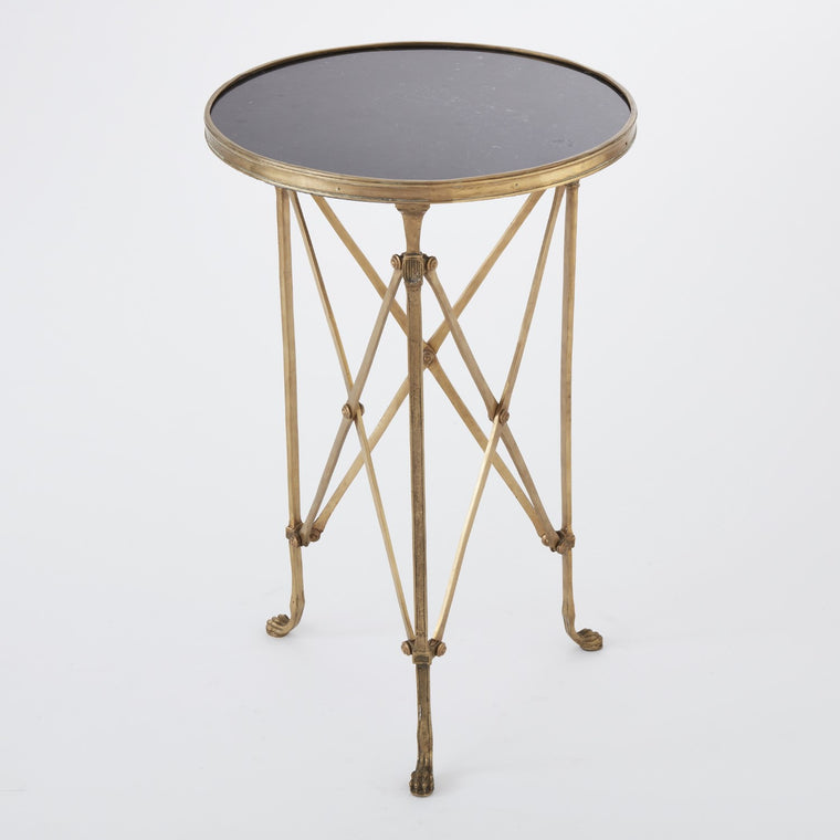Directoire Round Table - Brass w/ Black Granite