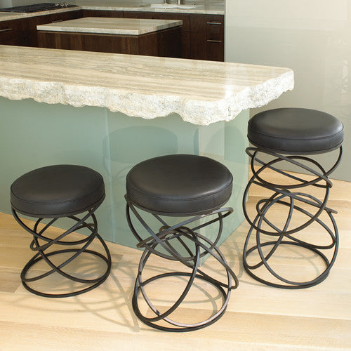 Ring Stool - Black Leather - 3 sizes - Grats Decor Interior Design & Build Inc.