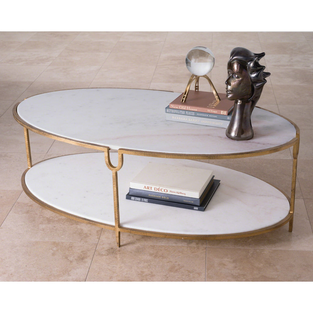 Iron and Stone Oval Coffee Table