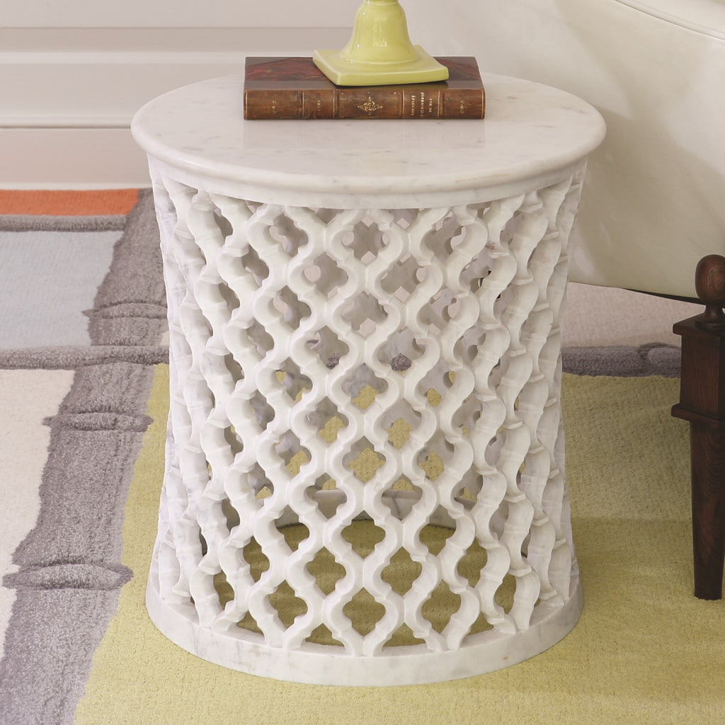 Marble Arabesque Side Table - Grats Decor Interior Design & Build Inc.