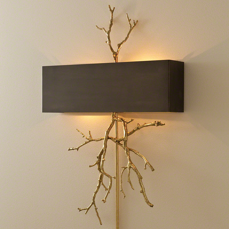 Twig Electrified Wall Sconce - Brass w/Bronze Shade - Grats Decor Interior Design & Build Inc.