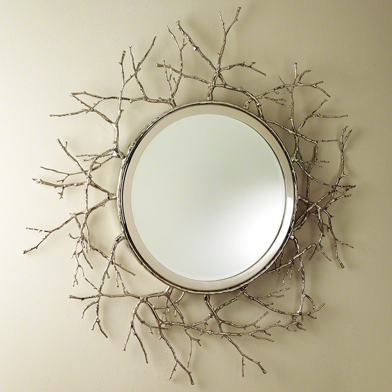 "Twig 44""Dia Mirror-Nickel - Grats Decor Interior Design & Build Inc."