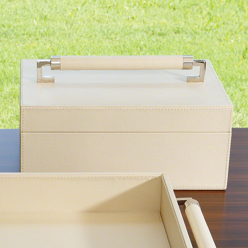 Wrapped Leather Handle Box - Ivory - Grats Decor Interior Design & Build Inc.