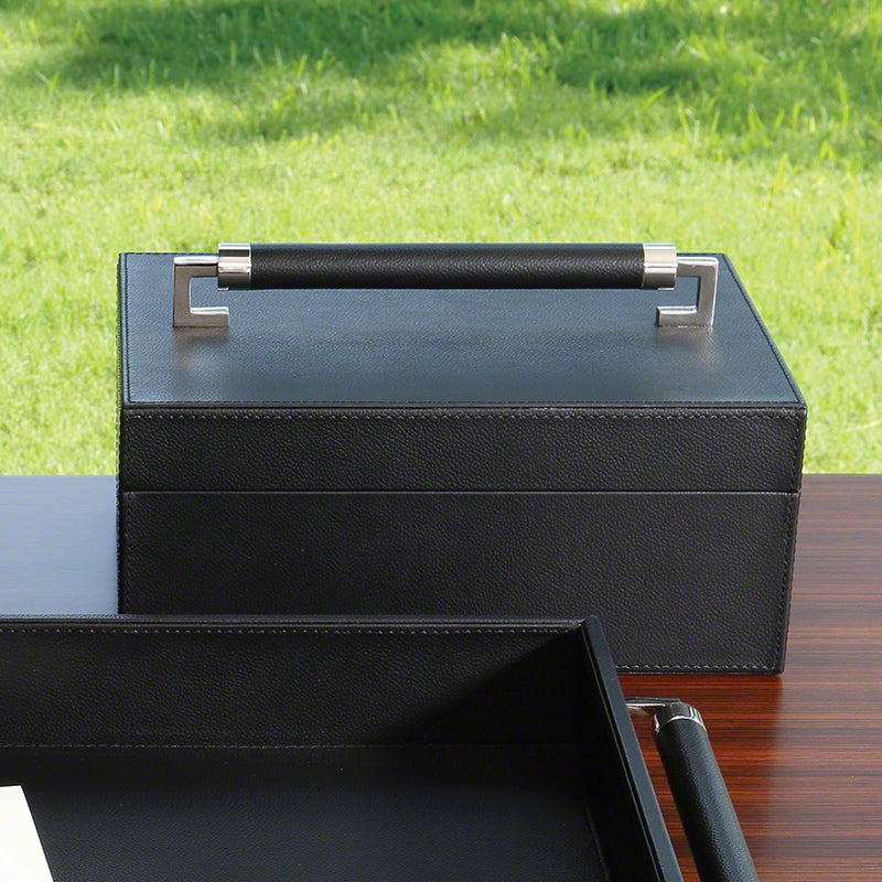 Wrapped Leather Handle Box - Black - Grats Decor Interior Design & Build Inc.