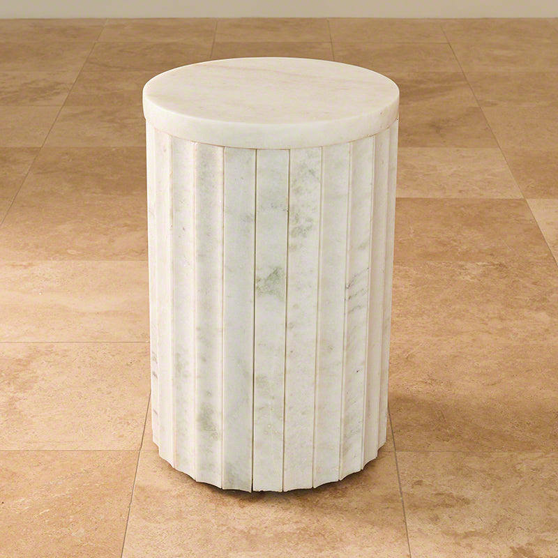 "Marble Column 20""Dia Table - White - Grats Decor Interior Design & Build Inc."
