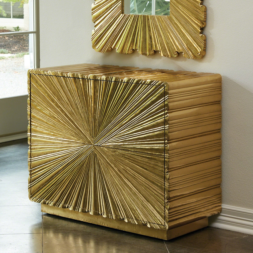 Linen Fold 2 Drawer Chest - Brass - Grats Decor Interior Design & Build Inc.