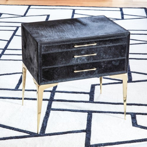 "Stiletto Bedside 25"" Table - Black Hair-on-Hide - Grats Decor Interior Design & Build Inc."