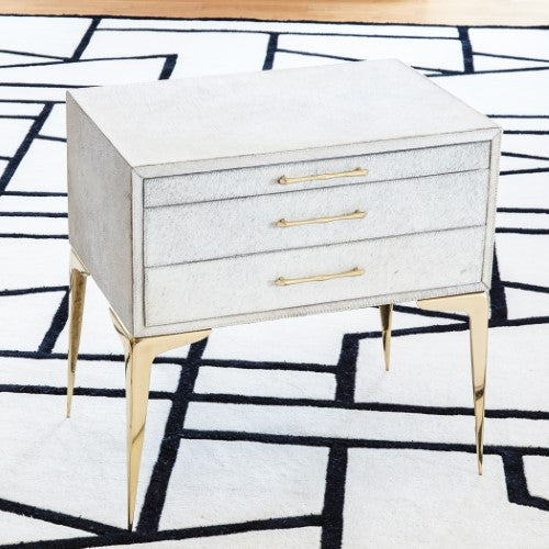 "Stiletto Bedside 25"" Table - White Hair-on-Hide - Grats Decor Interior Design & Build Inc."