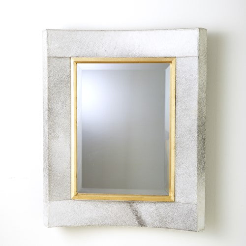 Curved Short Mirror - White Hair-On-Hide - Grats Decor Interior Design & Build Inc.