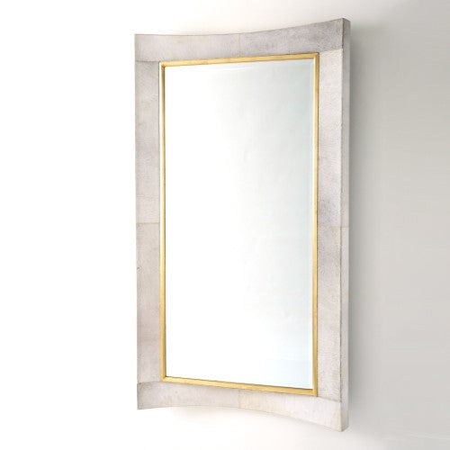 "Curved 84"" Floor Mirror - White Hair-On-Hide"