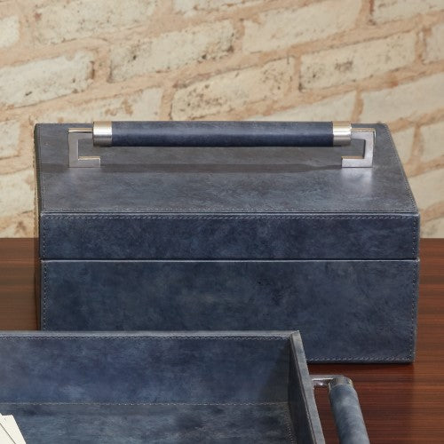Wrapped Leather Handle Box - Blue Wash