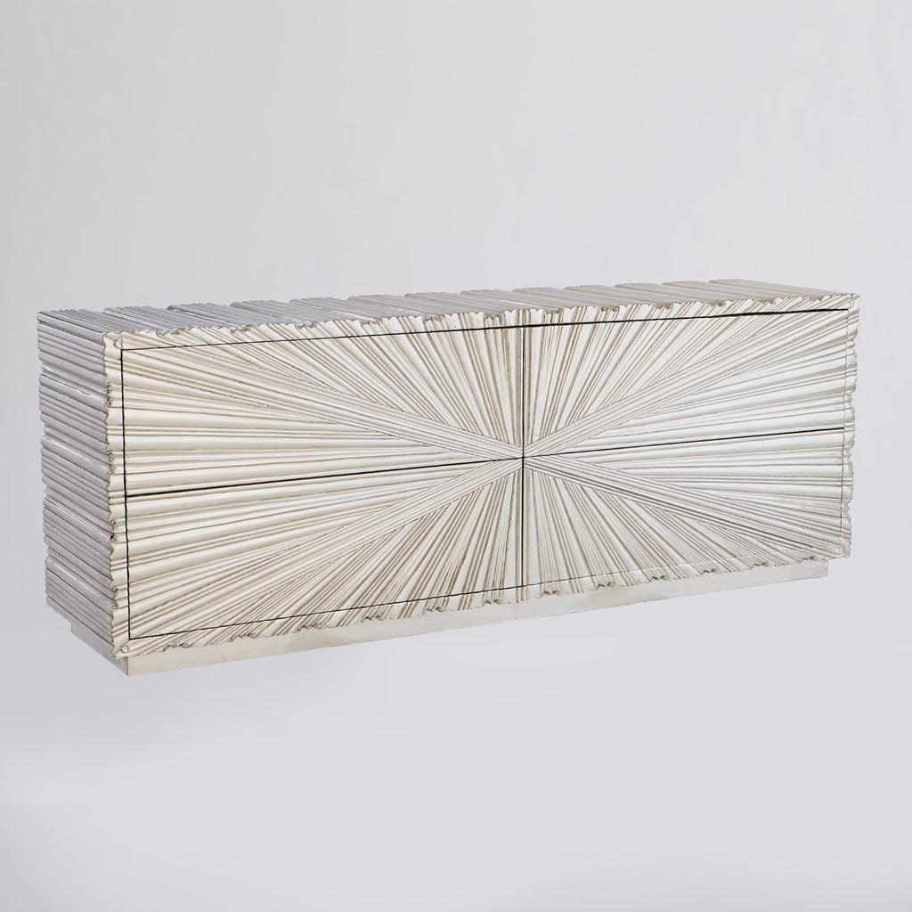Linen Fold Cabinet - Silver - Grats Decor Interior Design & Build Inc.