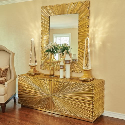 Linen Fold Mirror - 2 sizes - Brass