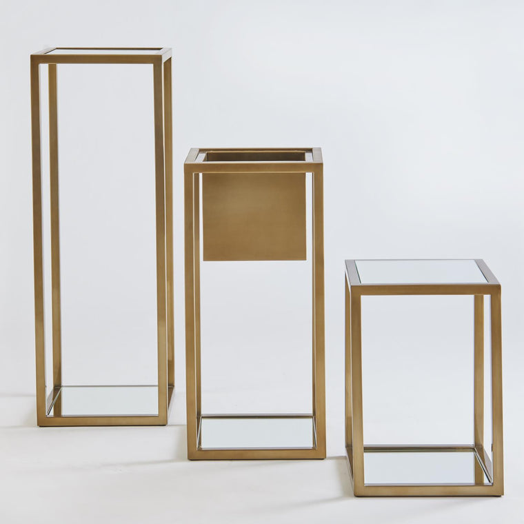 Escher Pedestal / Planter - Brass