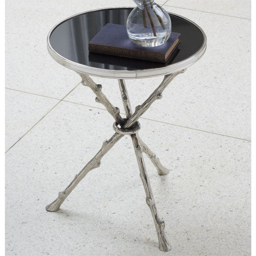 "Lola 17""Dia Table - Nickel & Black Granite - Grats Decor Interior Design & Build Inc."