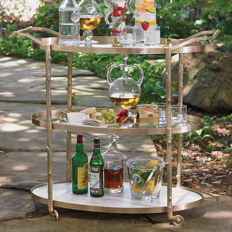 "Arbor 43"" x 20"" Oval Bar Cart - Brass - Grats Decor Interior Design & Build Inc."