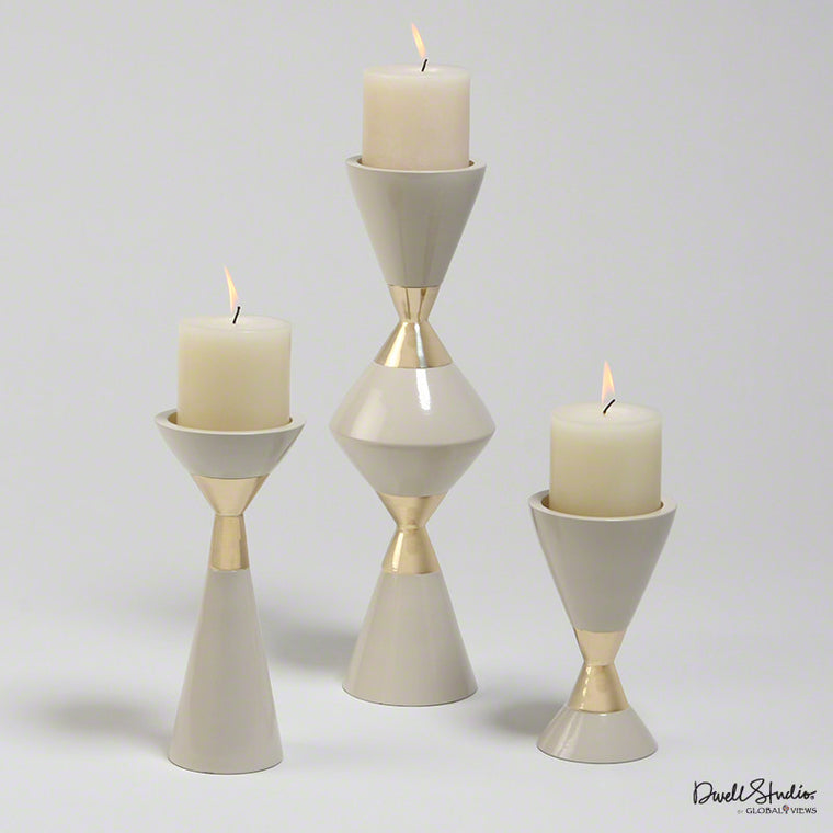 S/3 Hourglass Pillar Candleholders-Cream w/Gold