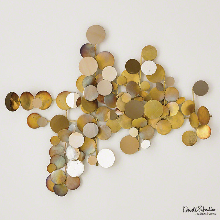 Dot Wall Decor Sculpture - Brass/ Gold - Grats Decor Interior Design & Build Inc.