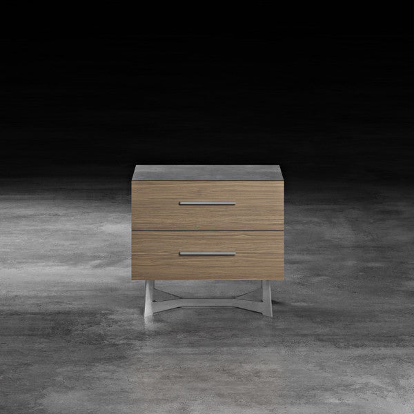 "Concrete & Walnut 24"" Nightstand - Grats Decor Interior Design & Build Inc."