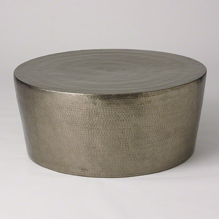 "Izmir Hammered 35""Dia/48""Dia Coffee Table - Nickel - Grats Decor Interior Design & Build Inc."