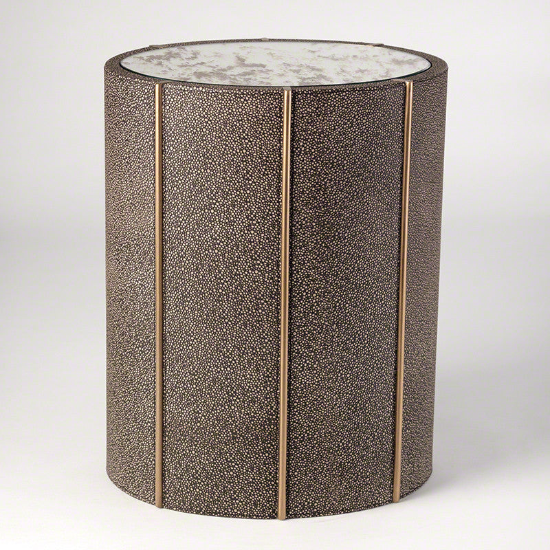 "Churchill 16"" x 12"" Oval Drum Table - Faux Shagreen - Grats Decor Interior Design & Build Inc."