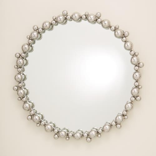 "Bubble 33""Dia Mirror - Nickel - Grats Decor Interior Design & Build Inc."