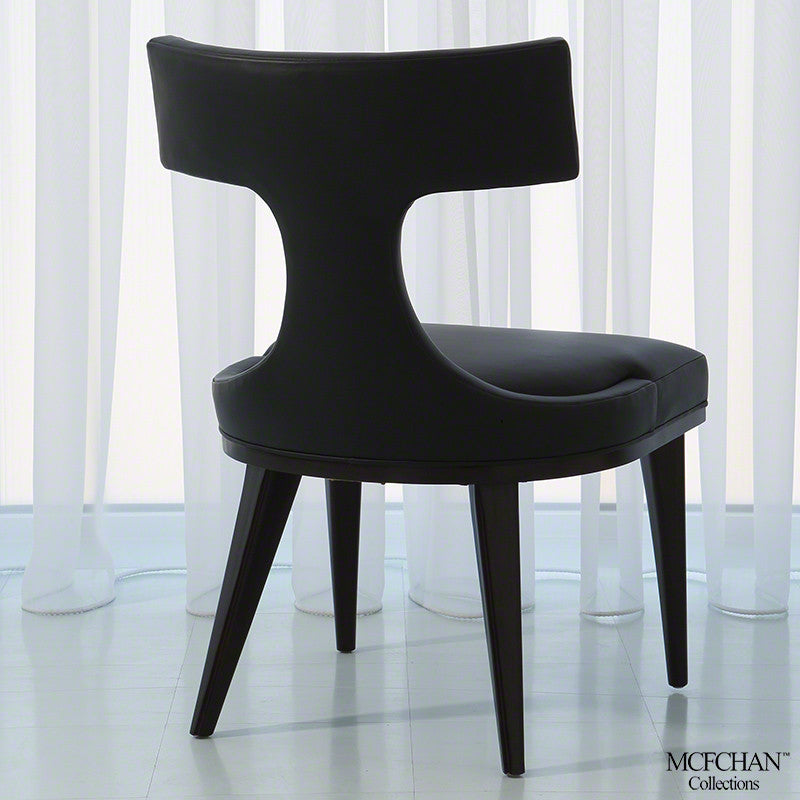 Anvil Back Dining Chair - Black Leather - Grats Decor Interior Design & Build Inc.