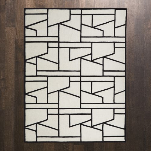 Zig Zag Rug-Ivory/Black - 4 sizes