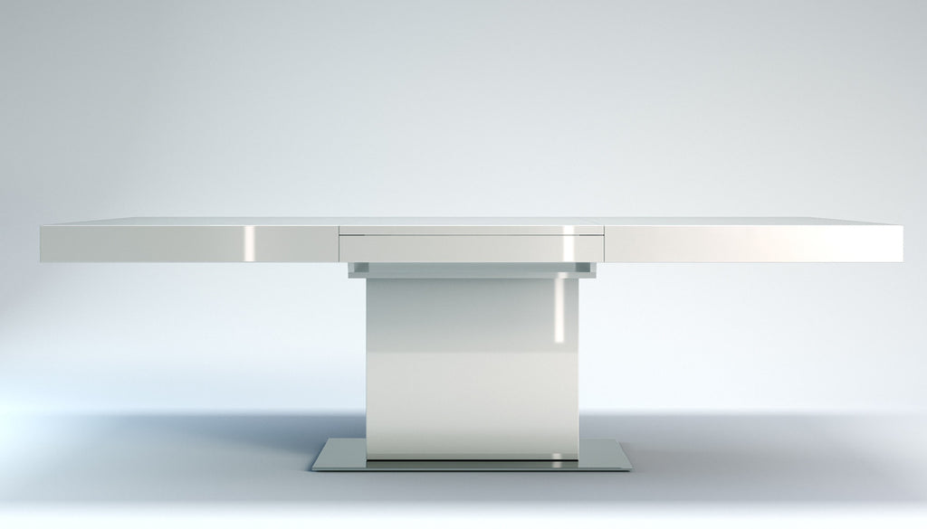 Astor Extendable Dining Table - White Lacquer - Grats Decor Interior Design & Build Inc.