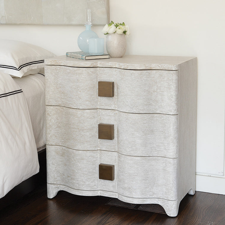 "Studo A Toile 28""W Linen Bedside Chest - Grats Decor Interior Design & Build Inc."