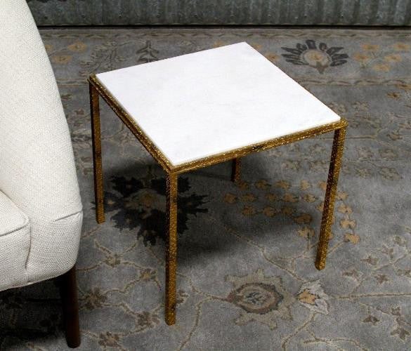 "Hammered Gold 16"" Square Table"