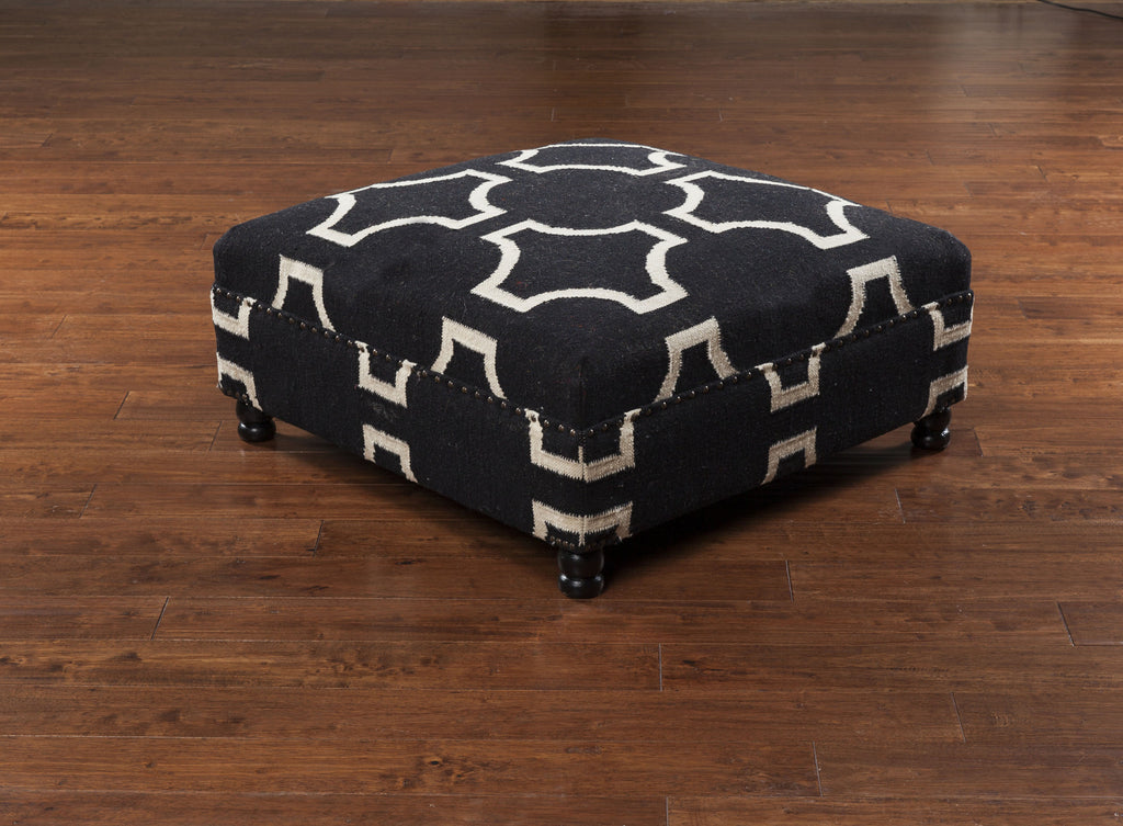"Wool 32"" Square Ottoman - Charcoal/Cream - Grats Decor Interior Design & Build Inc."