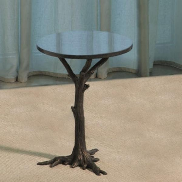 "Faux Bois 17""Dia Side Table - Black"