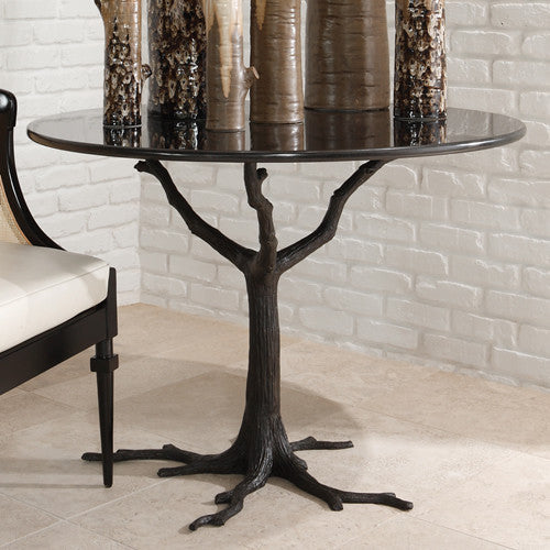 "Faux Bois 42""Dia Dining Table - Black - Grats Decor Interior Design & Build Inc."