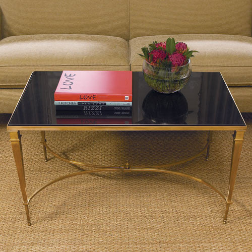 "Reed 36"" Coffee Table - Brass & Black Granite - Rectangular - Grats Decor Interior Design & Build, Inc.  - 2"