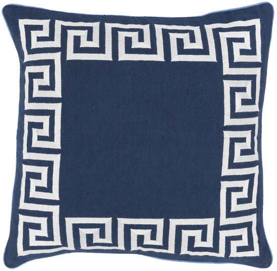 Greek Key Navy Pillow - 3 sizes - Grats Decor Interior Design & Build Inc.