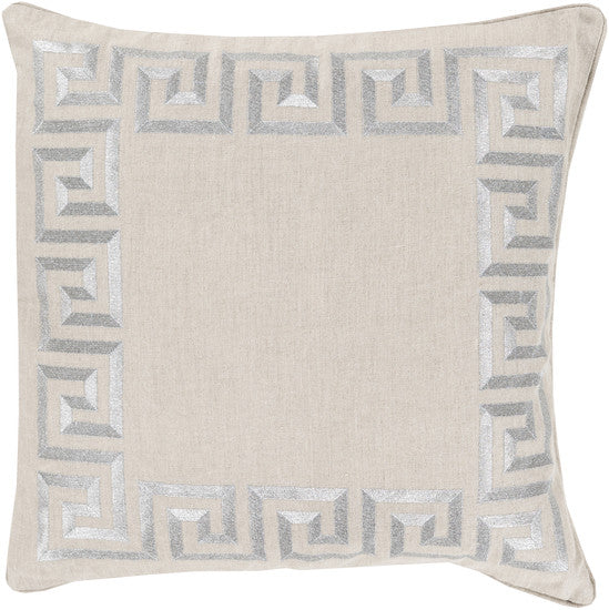 Greek Key Gray Pillow - 3 sizes - Grats Decor Interior Design & Build Inc.
