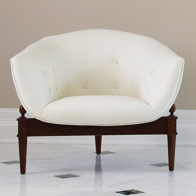 Mimi White Leather Chair - Grats Decor Interior Design & Build Inc.