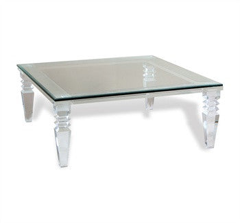 "Acrylic & Glass 40"" Coffee Table - Square - Grats Decor Interior Design & Build Inc."