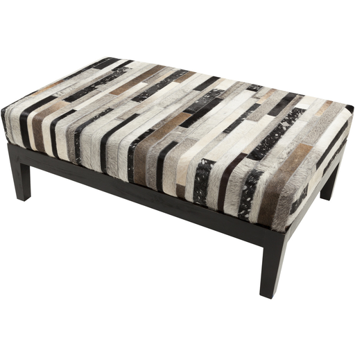"Hair On Hide 46"" Rectangular Ottoman - Light Stripe - Grats Decor Interior Design & Build Inc."