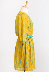 cute bird print yellow belted dress