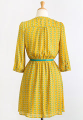 summer yellow 3/4 sleeve bird dress