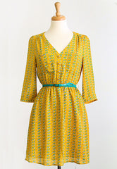 yellow bird print dress