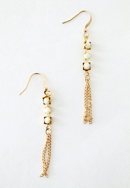 cream bead gold chain earrings